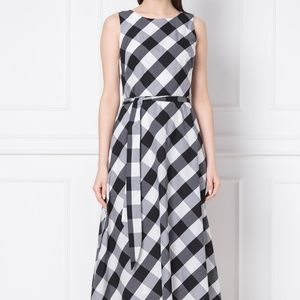DKNY Check Print Belted Fit & Flare Dress Gray/Mul